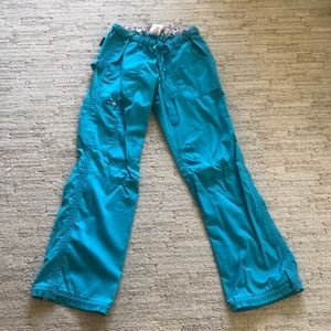 S Turquoise koi scrub pants